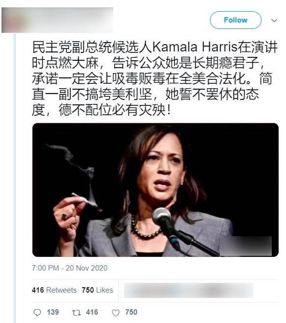 網傳賀錦麗在演講時點燃大麻照片。(圖擷取自台灣事實查核中心)