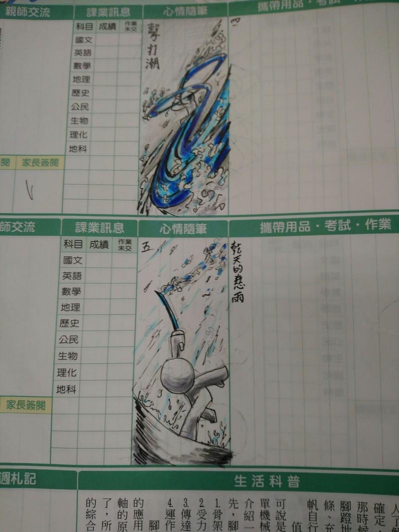 龍津高中的國三學生張廷愷,在聯絡簿上神還原「水之呼吸」招式。(曾明騰授權提供)
