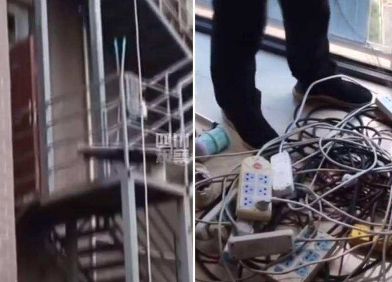 近日中國湖北一名男子行徑不明所以,竟從大樓9樓處偷接延長線至1樓停車區地面,就只為「幫電動車充電」,危險的行為被消防人員斥責,目前私接的延長線都已經移除。(圖翻攝自微博)