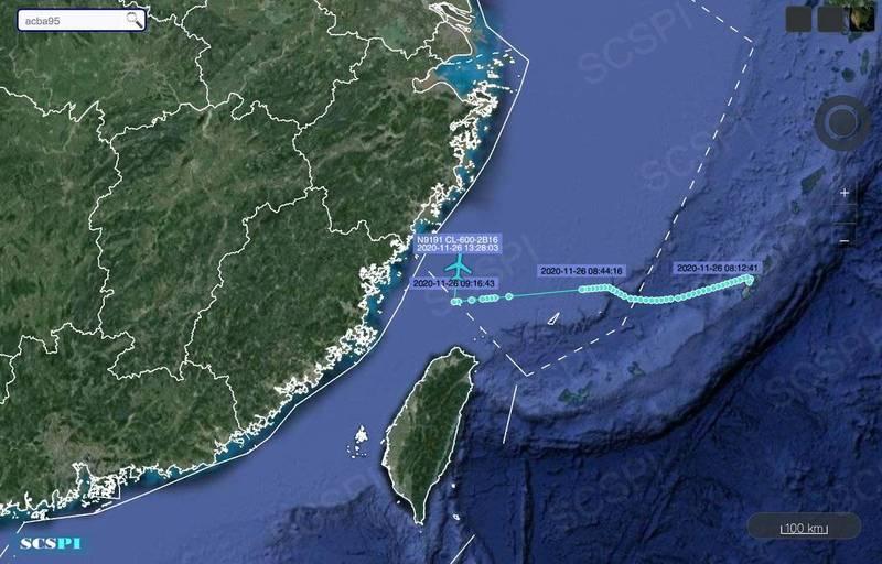 美國民間飛機公司的偵察機,26日對中國進行抵近偵察,直接切入中國劃設的東海防空識別區,並在台灣北部空域轉北,沿著中國沿海飛行偵察。(圖:取自「南海戰略態勢感知計畫」SCSPI推特)