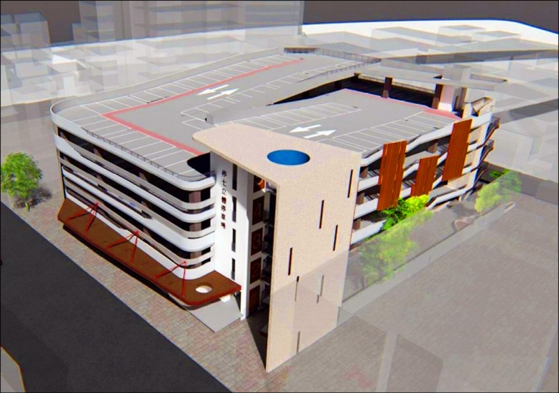 竹市西大路新建智慧化立體停車場規劃圖。(竹市府提供)