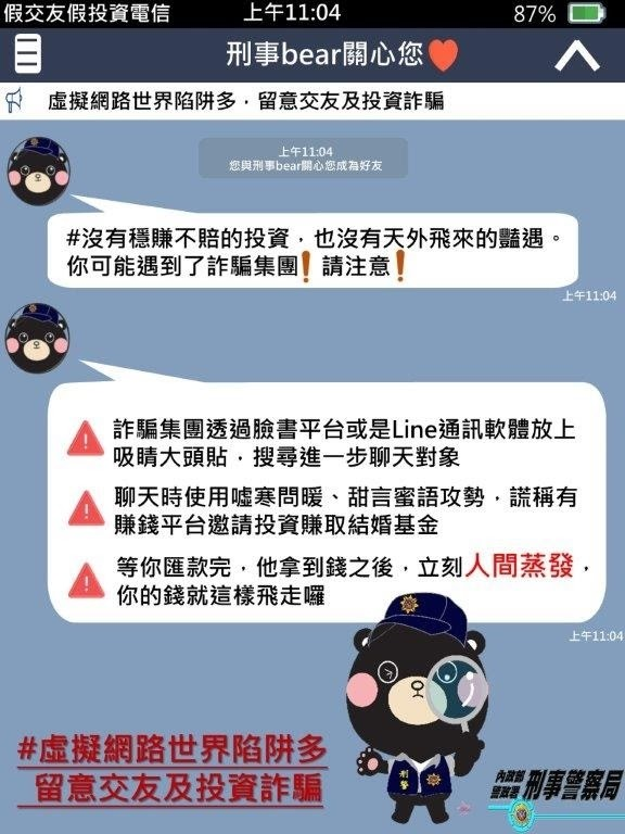 刑事局呼籲民眾勿輕信網友來路不明的投資管道,以免被騙。(刑事局提供)