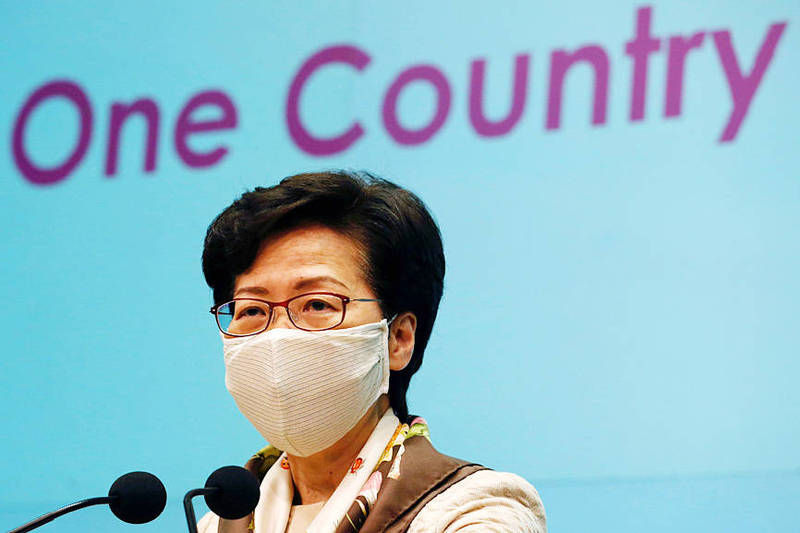 Hong Kong Chief Executive Carrie Lam speaks during a news conference about new national security legislation in Hong Kong on June 2. Photo: Reuters