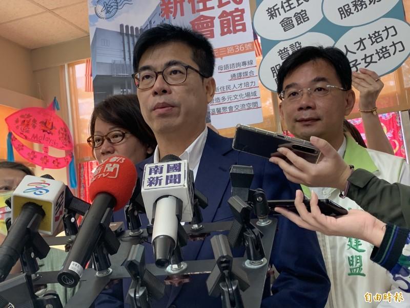 高雄市陳其邁今主持新住民會館揭牌,他表示現在有5個服務中心、22個服務據點,未來朝每區設立一個服務據點。(記者方志賢攝)