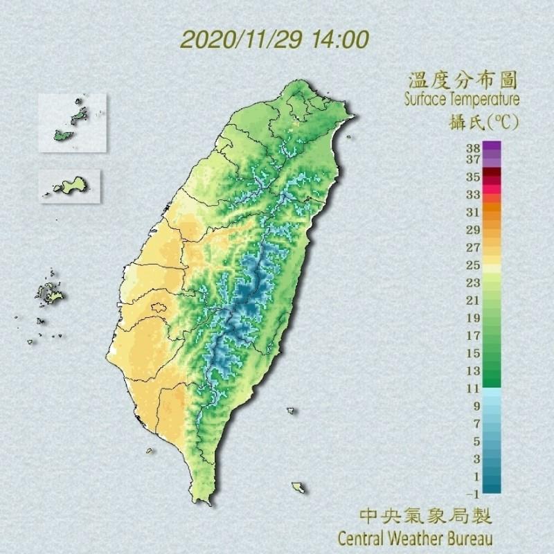 受東北季風影響,今北台灣整天都是濕冷的天氣型態。(記者蕭玗欣翻攝)