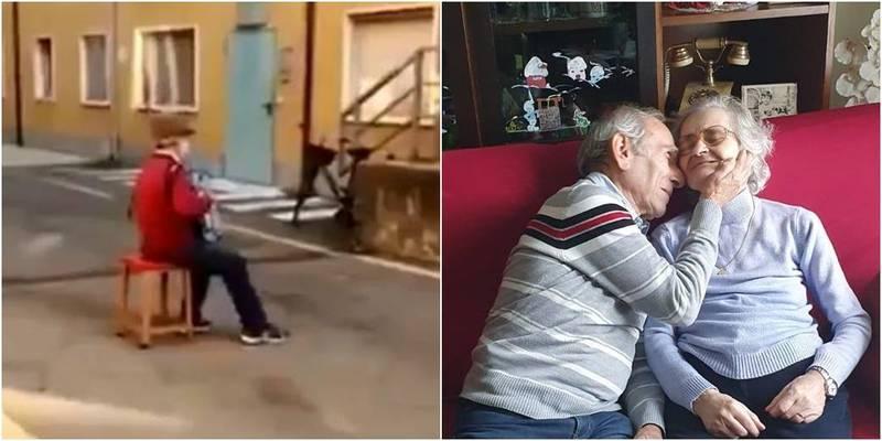 義大利1名81歲老翁(左)在74歲妻子(右)病房外演奏手風琴,直至妻子去世。(左圖取自推特,右圖取自皮亞琴察市長Patrizia Barbieri Facebook)