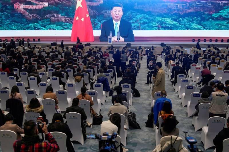 外媒曝秘辛,傳中共監查官員坐過椅子,漏尿者「在劫難逃」。圖為中共國家主席習近平11月23日在浙江烏鎮的互聯網會議開幕式中發表視訊講話,非本文所指會議。(路透)
