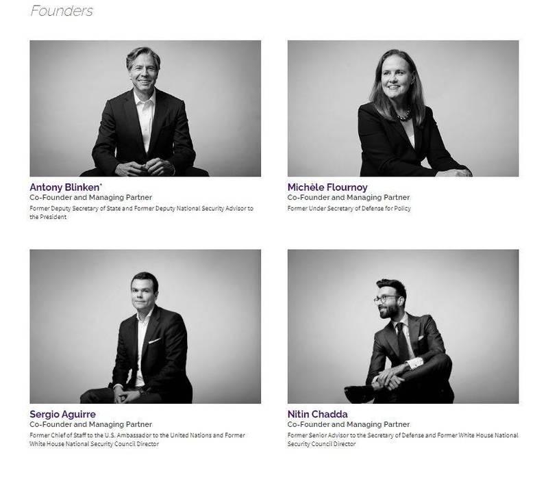 「西政諮詢」4名共同創辦人,皆為歐巴馬時代內閣官員,同樣也是拜登內閣的大熱門人選。其中布林肯(左上)已被拜登挑選為未來國務卿。(翻攝自WestExec Advisors官網)