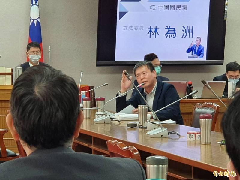 國民黨團總召林為洲今於立院司法法制委員會質詢立院秘書長林志嘉。(記者謝君臨攝)
