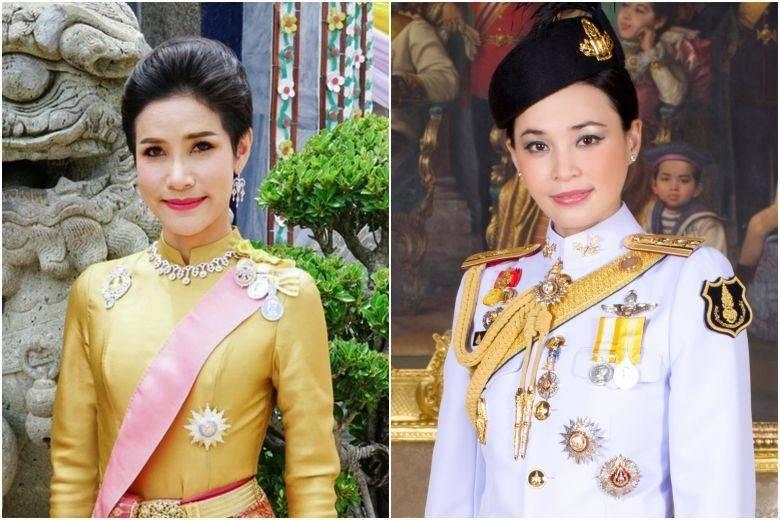 泰國貴妃詩妮娜(左)不雅私密照照外流,有專家推測,一切全是王后素提達(右)的陰謀。(法新社檔案照)
