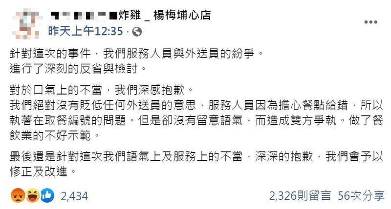 桃園日前發生炸雞店員及外送員衝突,在外送員遭開除後,炸雞店也被出征圍剿猛刷一星負評,被質疑態度差。(圖擷自臉書)