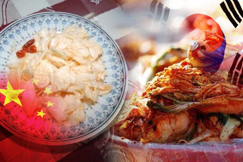 中國針對四川泡菜(左)製作制定的國際標準通過ISO認可,南韓表示這項標準不適用於南韓泡菜(右)。(左圖資料照,右圖路透,本報合成)