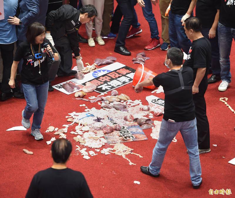 國民黨立委在議場內丟擲豬皮與內臟,林志嘉指出,希望清洗後能夠沒有留下任何味道,若真的沒有味道,就不會做更換地毯的處理,如果要換地毯的話,就要100多萬。(資料照)
