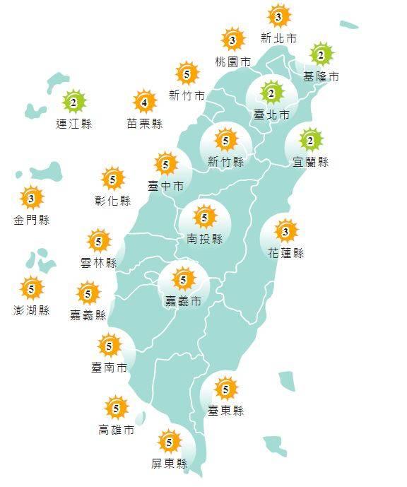 紫外線方面,基隆市、台北市、宜蘭縣及連江縣為「低量級」,其他地區均為「中量級」。(圖擷取自中央氣象局)