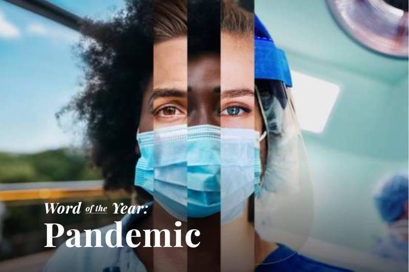 美國的權威字典韋氏字典(Merriam-Webster)在今天發表了2020年度單字「pandemic」,中文譯為「大流行」。(圖擷取自韋氏字典)