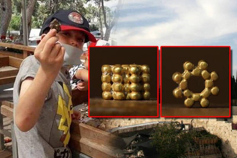 外國1名9歲男童先前在以色列耶路撒冷聖殿山拾獲一塊金色物體,近日被證實是3000年前的金珠飾品,飾品形狀如綻放的花瓣,是由許多小顆的黃金珠子組成,保存狀況相當良好。(本報合成)