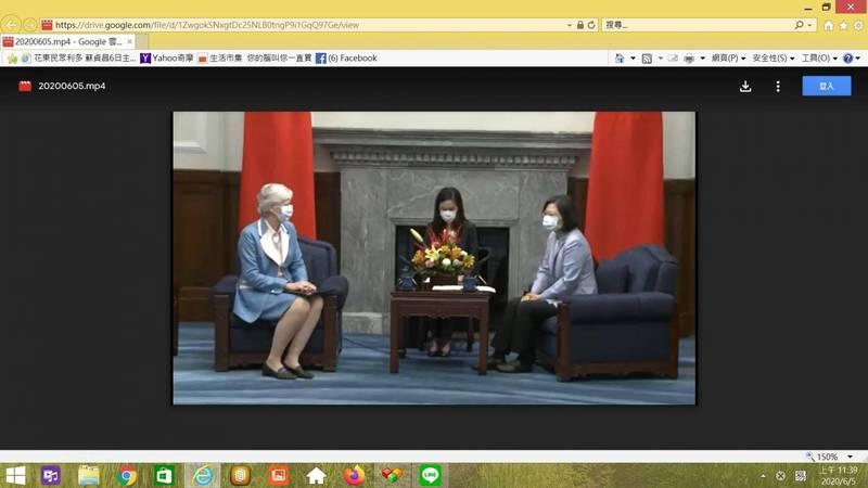 蔡英文總統接見英國在台辦事處代表唐凱琳。圖為今年6月5日於總統府會面。(取自總統府拍帶畫面)