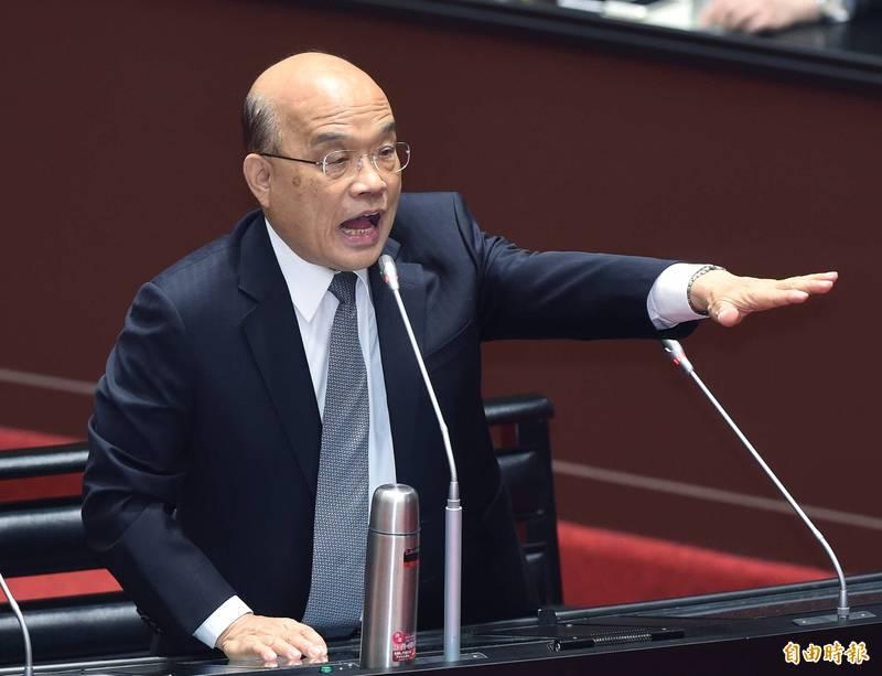 針對政院小編日前遭爆料花公帑製作圖卡攻擊在野黨一事,行政院長蘇貞昌今表示,確實應該要檢討,如果有錯就該改,「這點真的很對不起」。(記者廖振輝攝)