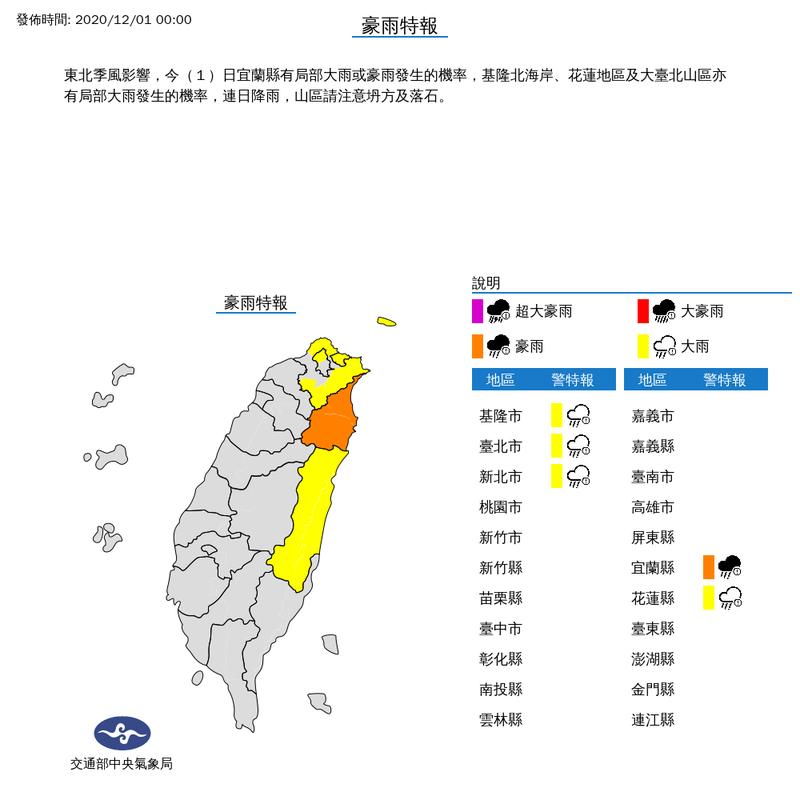 氣象局12月1日凌晨對北東5縣市發布豪、大雨特報。(圖取自氣象局網站)