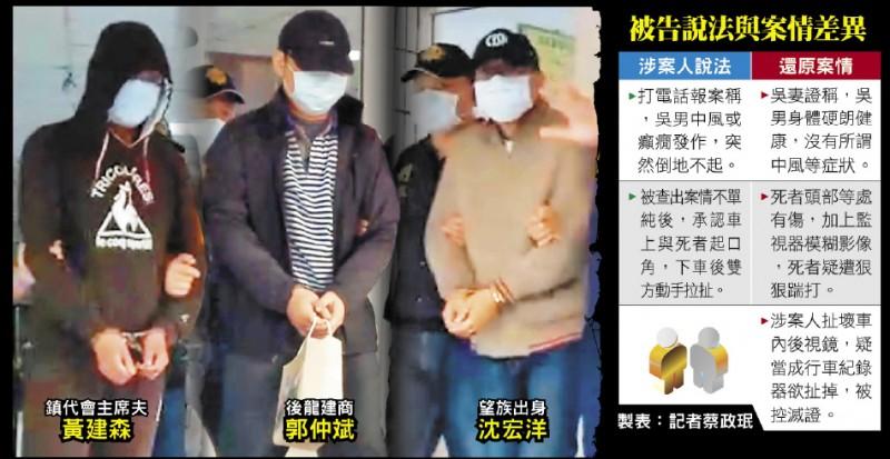 11月30日凌晨涉嫌打死白牌車司機的黃男、郭男和沈男被警方依傷害致死罪嫌移送。 (記者蔡政珉翻攝)