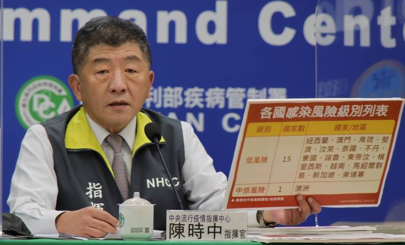 外界關心旅遊泡泡進展,中央流行疫情指揮中心指揮官陳時中直言,目前並不考慮。(指揮中心提供)