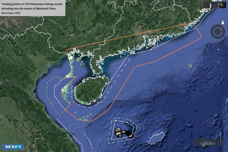 中國智庫宣稱,11月共有130艘越南漁船入侵中國沿海。(圖取自SCSPI)