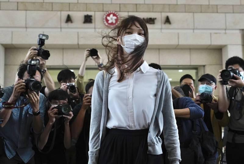 香港民運人士周庭11月23日出庭檔案照。(美聯社)