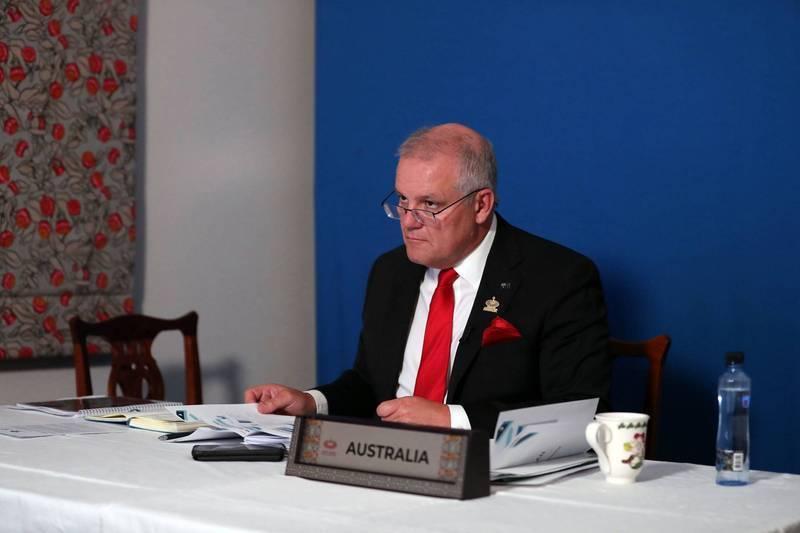 澳洲總理莫里森在中國社群媒體「微信」發文卻被刪除。(法新社)