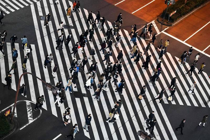東京都內已連續4個月出現人口下滑的情況,料與武漢肺炎疫情下在家工作模式普及有關。圖為東京街景。(法新社)