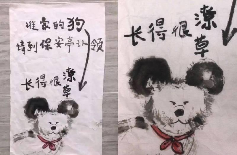 日前中國有一名好心人士撿到鄰居的狗,親自畫出狗狗的認領畫像貼在牆上給飼主辨認,上頭還寫著「長得很潦草」。(圖擷取自微博)