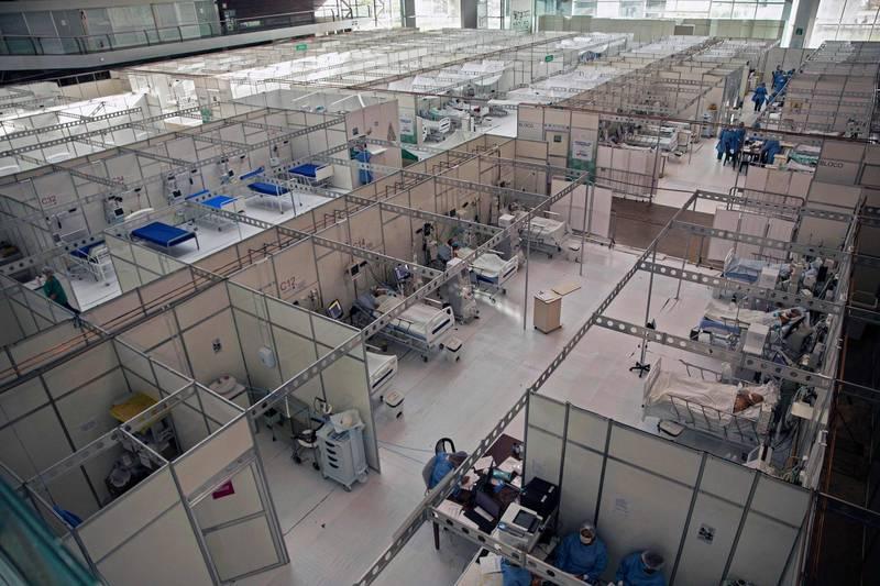 圖為3日巴西城市貝倫當地的武漢肺炎野戰醫院景像。(法新社)