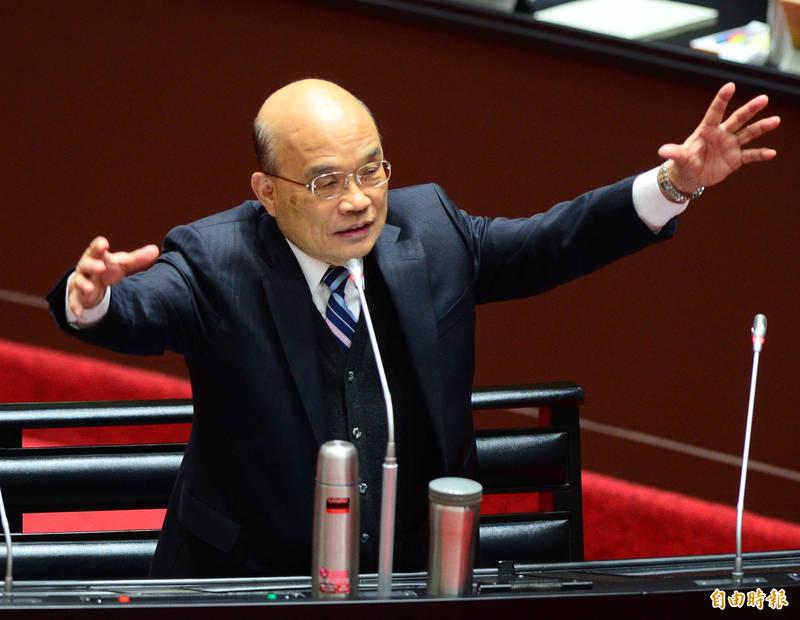 行政院長蘇貞昌出席立法院院會備詢。(記者王藝菘攝)