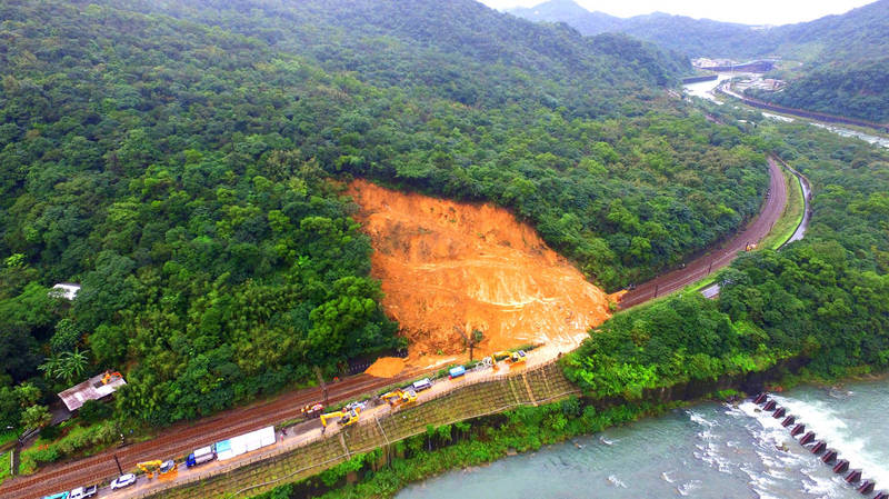 Debris from a landslide blocks a section of railway in New Taipei City yesterday.  Photo courtesy of the Taiwan Railways Administration