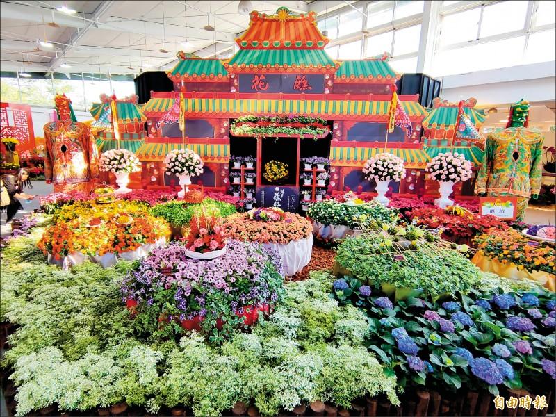 埔里秋季花卉展將宗教文化元素融入花藝中。(記者佟振國攝)