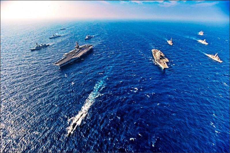 美、日、法國預定明年五月間在日本西南部進行水陸兩棲聯合操演。圖為美、日、澳、印自十一月十六日到十一月二十日在阿拉伯海實施「二○二○馬拉巴爾」第二階段海軍聯合演習。(美聯社檔案照)