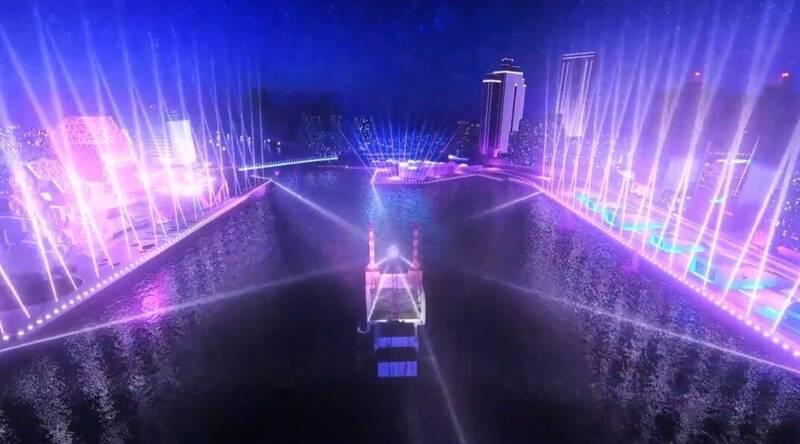 高市副市長史哲公布高雄跨百光年雙舞台之外的第三座海上舞台(圖中)模擬場景。(記者王榮祥翻攝)