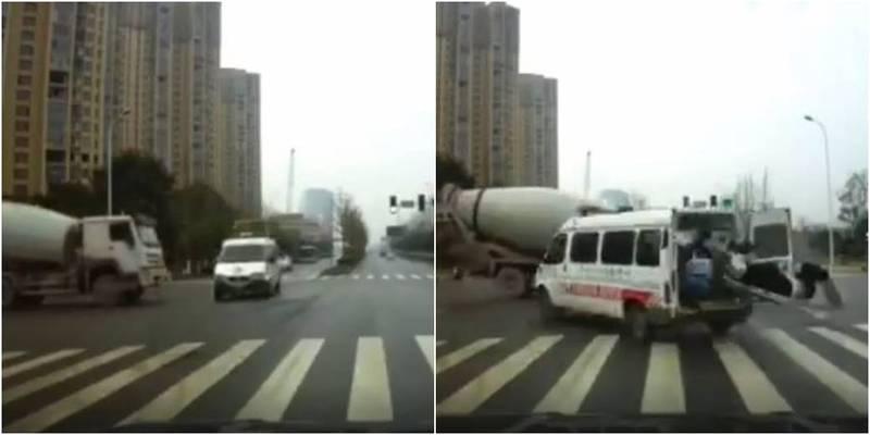 中國湖南1輛水泥預拌車撞上救護車,導致1死4傷。(圖取自微博)