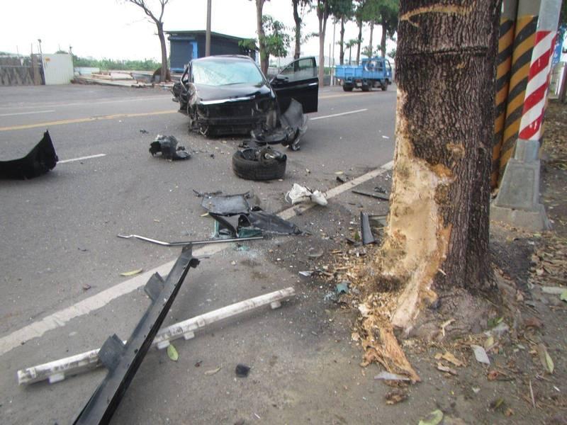 汽車撞路樹,路樹慘遭「剝皮」。(記者洪定宏翻攝)