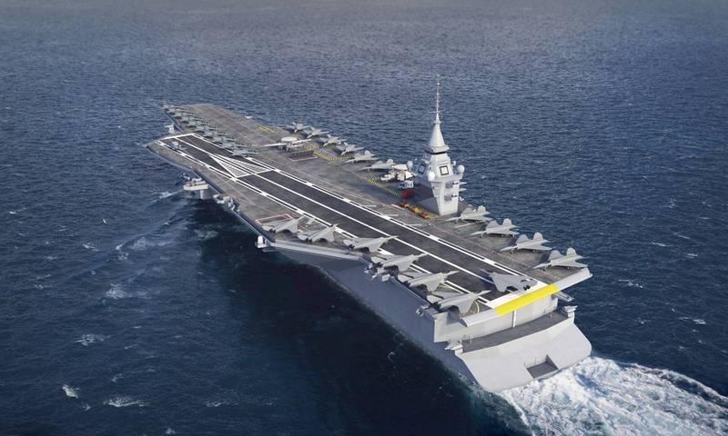 馬克宏宣布建造新型核子動力航艦,預計2038年取代現役核子航艦「戴高樂號」。圖為新航艦模擬圖。(路透)