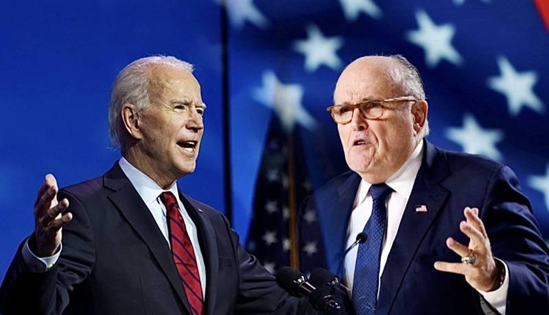 朱利安尼(右)持續替川普進行法律戰,對抗拜登(左)。(路透,本報合成)