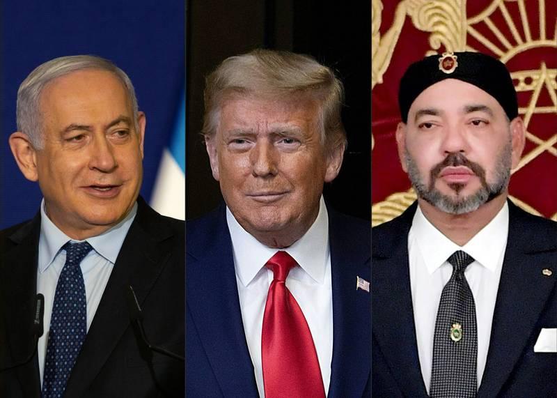由左至右為以色列總理納坦雅胡(Benjamin Netanyahu)、美國總統川普、摩洛哥國王穆罕默德六世(King Mohammed VI)。(法新社)