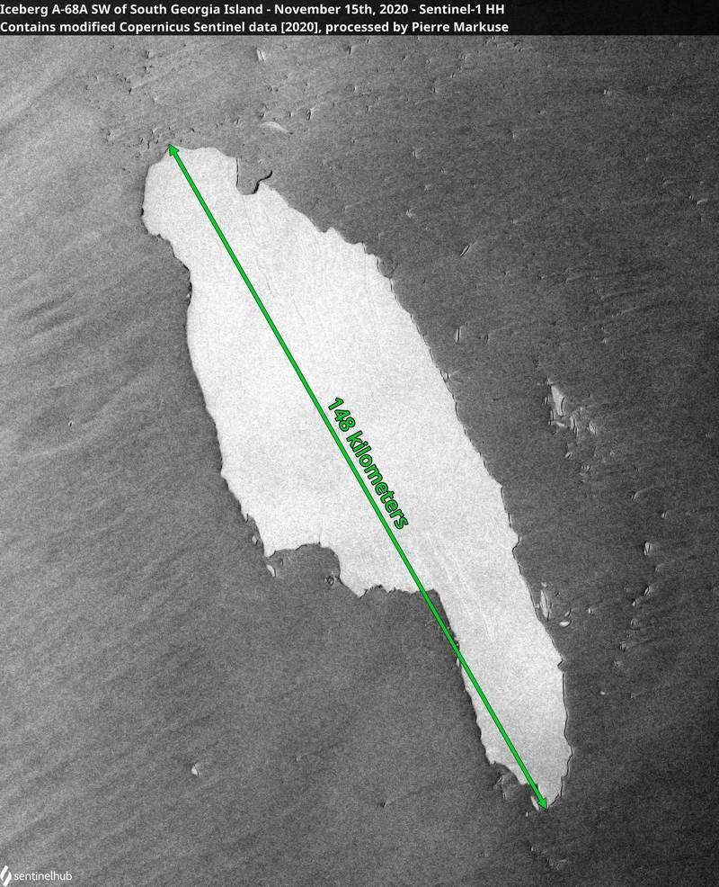 目前正朝著南喬治亞島移動的巨大冰山「A-68a」面積十分巨大,換算下來相當於14個台北市大。(路透)