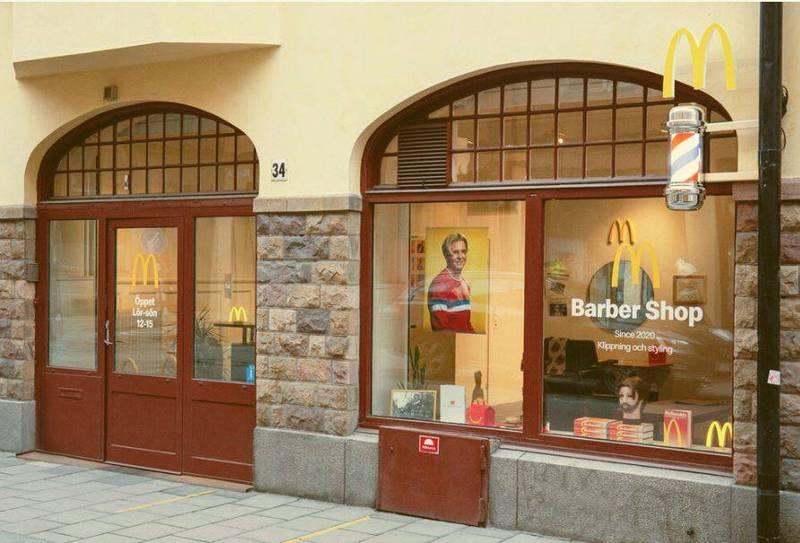 瑞典麥當勞斯在斯德哥爾摩開設全球第一家M理髮店,專門為顧客打造1990年代復古M字髮型。(圖擷自瑞典麥當勞官網)