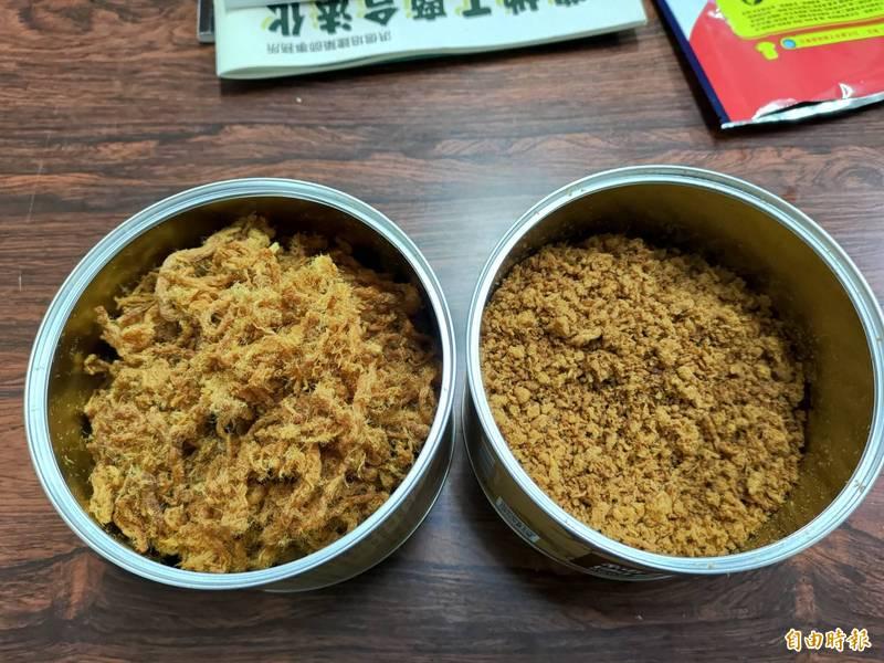 蘇士博指出,新鮮現宰的豬肉的纖維質能做出條狀肉酥(左),若缺乏長纖維豬肉,焙炒出的肉酥就會成顆狀或粉狀。(記者陳冠備攝)