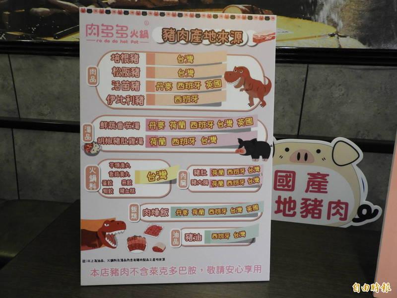 知名連鎖火鍋品牌肉多多集團自主標示肉品產地來源。(記者賴筱桐攝)