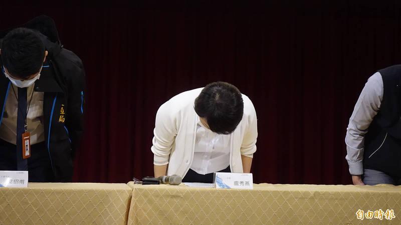 台中市長盧秀燕宣布中捷19日通車延後,並向市民道歉。(記者廖耀東攝)