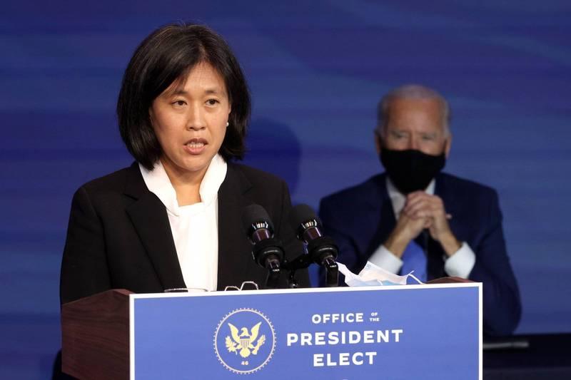 台裔美籍戴琪(左)獲美國總統當選人拜登(右)提名為貿易代表。(法新社資料照)
