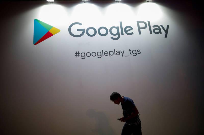 南韓1名玩家課金玩遊戲,改谷歌密碼後,遊戲角色消失,氣得他一狀告上法院。Google play示意圖。(路透檔案照)