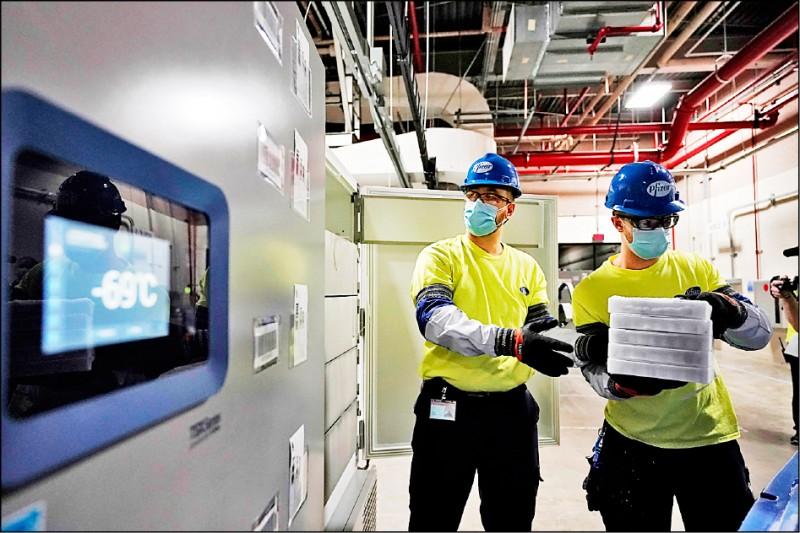 輝瑞製藥工作人員正忙著疫苗交貨工作,一旁的儲存冷櫃顯示的溫度為攝氏零下69度。(美聯社)
