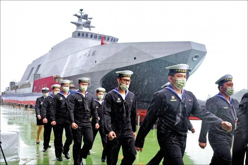沱江級量產型首艦「塔江艦」昨命名下水,塔江艦除搭載雄二、雄三反艦飛彈,為強化防空戰力,也將裝備兩座八聯裝海劍二防空飛彈。(法新社)